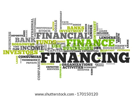 Word Cloud with Financing wording - stock photo
