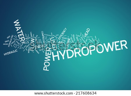 Word Cloud with Hydropower related tags - stock photo