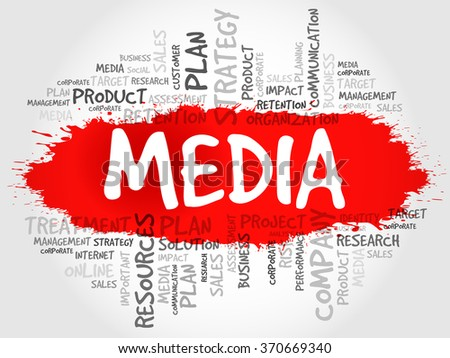Word Cloud with Media related tags, business concept - stock photo