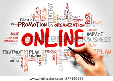 Word Cloud with Online related tags - stock photo