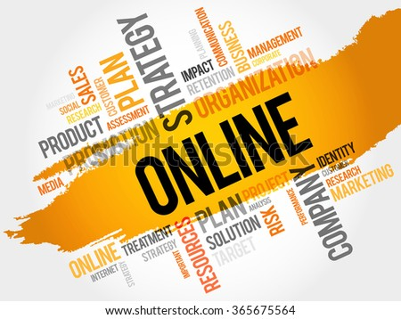 Word Cloud with Online related tags, business concept - stock photo
