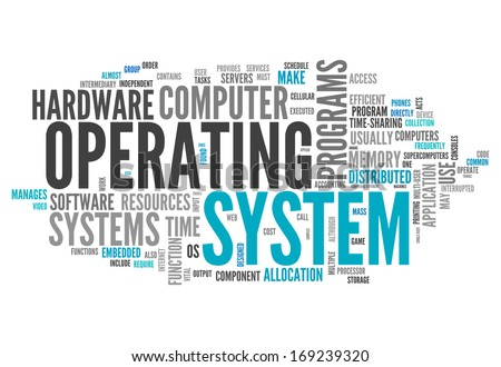 Word Cloud with Operating System related tags - stock photo