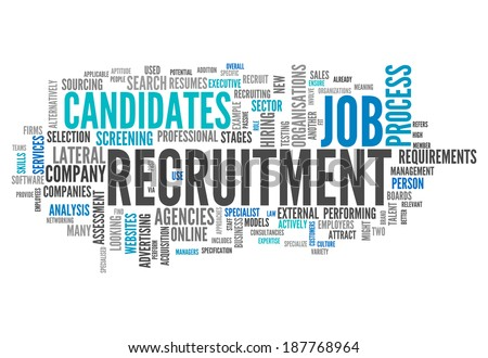 Word Cloud with Recruitment related tags - stock photo