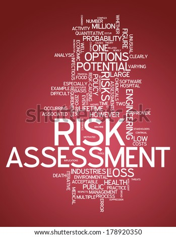Word Cloud with Risk Assessment related tags - stock photo