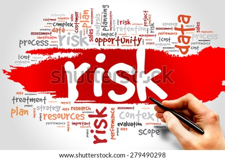 Word Cloud with RISK related tags, business concept - stock photo