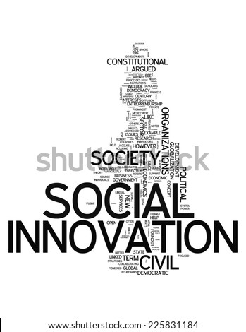Word Cloud with Social Innovation related tags - stock photo