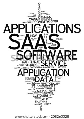 Word Cloud with Software As A Service related tags - stock photo