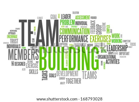 Word Cloud with Team Building related tags - stock photo