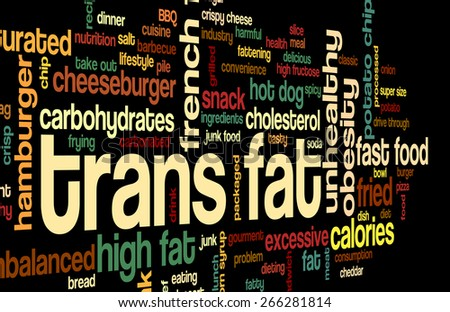 Word cloud with terms related to fast food, trans fat, obesity problem, unhealthy lifestyle, cholesterol problems and bad food: potato chips, french fries, pizza, sugar, fat. - stock photo