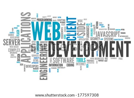 Word Cloud with Web Development related tags - stock photo