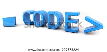 Word Code 3D on white background