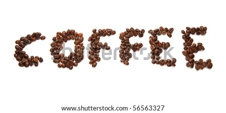 "word ""coffee"" made from coffee-beans"