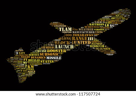 Word Collage in shape of Tomahawk missile - stock photo