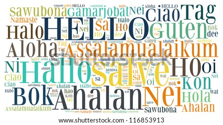 Word collage hello greet people different stock illustration word collage of hello greet people in different languages m4hsunfo