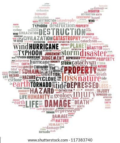 Word collage of natural disaster: hurricane - stock photo