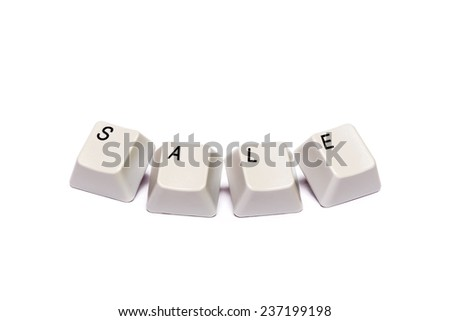 word collected from computer keyboard buttons letters sale isolated on white background,  in studio - stock photo