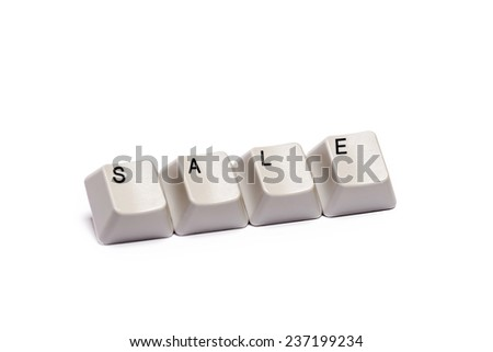 word collected from computer keyboard buttons letters sale isolated on white background,  in studio