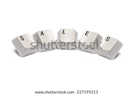 word collected from computer keyboard buttons letters sales isolated on white background, in studio