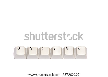 word collected from computer keyboard buttons online isolated on white background, in studio