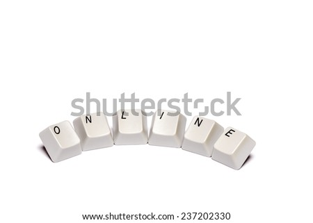 word collected from computer keyboard buttons online isolated on white background, in studio - stock photo