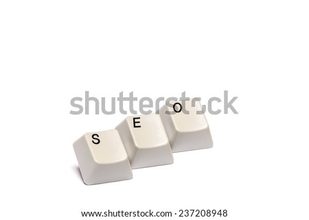 Word collected from computer keyboard buttons SEO isolated on white background, studio shot - stock photo
