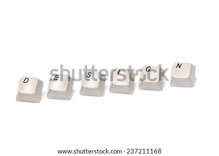 Word collected from computer keyboard letters buttons design isolated on white