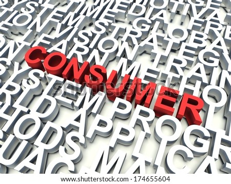 Word Consumer in red, salient among other related keywords in white. 3d render illustration. - stock photo