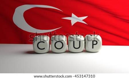 Word COUP written on dices with Turkish flag waving in background. Military coup attempt in Turkey. - stock photo