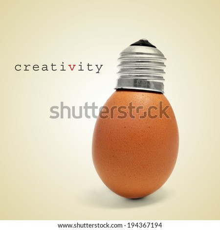 word creativity and an egg with a screw cap like a light bulb on a beige background - stock photo