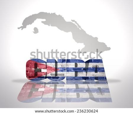 Word Cuba with National Flag near map of Cuba - stock photo