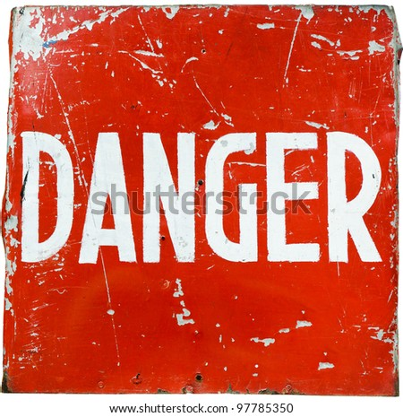 "word "" danger "" on a red shield, the ultimate natural look - stock photo"
