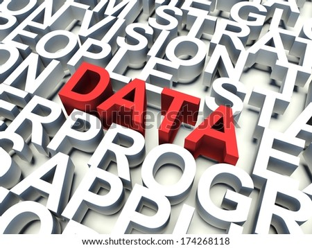Word Data in red, salient among other related keywords concept in white. 3d render illustration. - stock photo