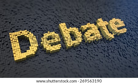 Word 'Debate' of the yellow square pixels on a black matrix background. Negotiation concept. - stock photo