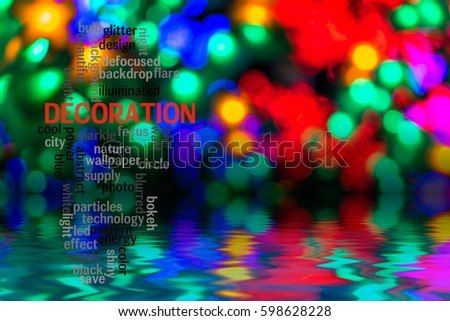 Word  DECORATION concept with blurred light background.
