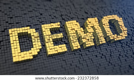 Word 'Demo' of the yellow square pixels on a black matrix background - stock photo