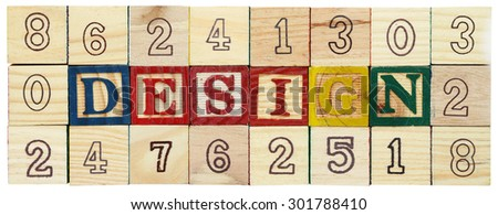 "Word ""DESIGN"" among alphabet wooden blocks - stock photo"