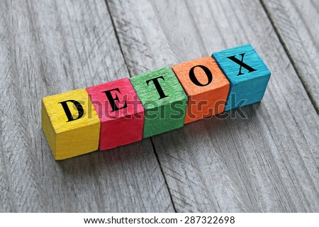 word detox on colorful wooden cubes - stock photo