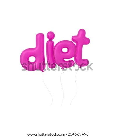 "Word ""diet"" written by 3d letters as magenta balloons - stock photo"