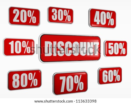 word discount and different percentages in 3d red banners