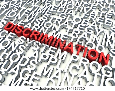 Word Discrimination in red, salient among other keywords concept in white. 3d render illustration. - stock photo