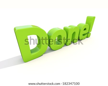Word done icon on a white background. 3D illustration. - stock photo