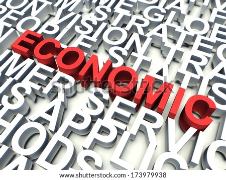 Word Economic in red, salient among other related keywords concept in white. 3d render illustration.