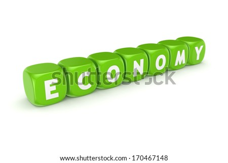 Word ECONOMY on green cubes.Isolated on white.3d rendered. - stock photo