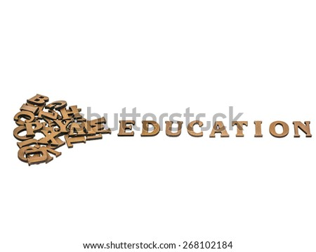 Word education made with block wooden letters next to a pile of other letters over the wooden board surface composition, clipping path included. - stock photo