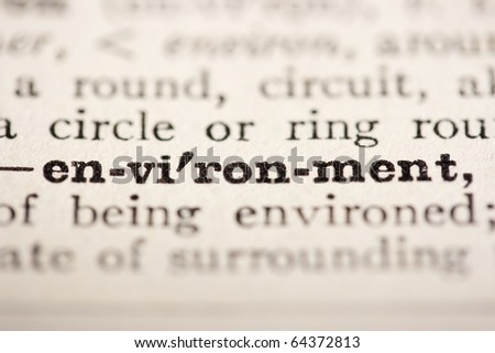 Word environment from the old dictionary, a close up. - stock photo