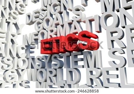 Word Etics in red, salient among other related keywords concept in white. 3d render illustration. - stock photo