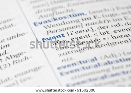 Word event written in a dictionary - stock photo