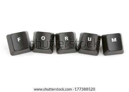 Word forum formed with computer keyboard keys on white background with shadow