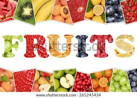 Word Fruits with apple, orange, lemon, banana and strawberry - stock photo