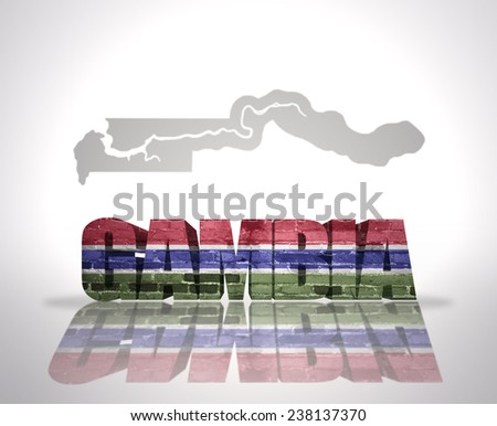 Word Gambia with National Flag near map of Gambia - stock photo
